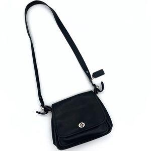 Vintage Black Leather Turn Lock Coach Crossbody